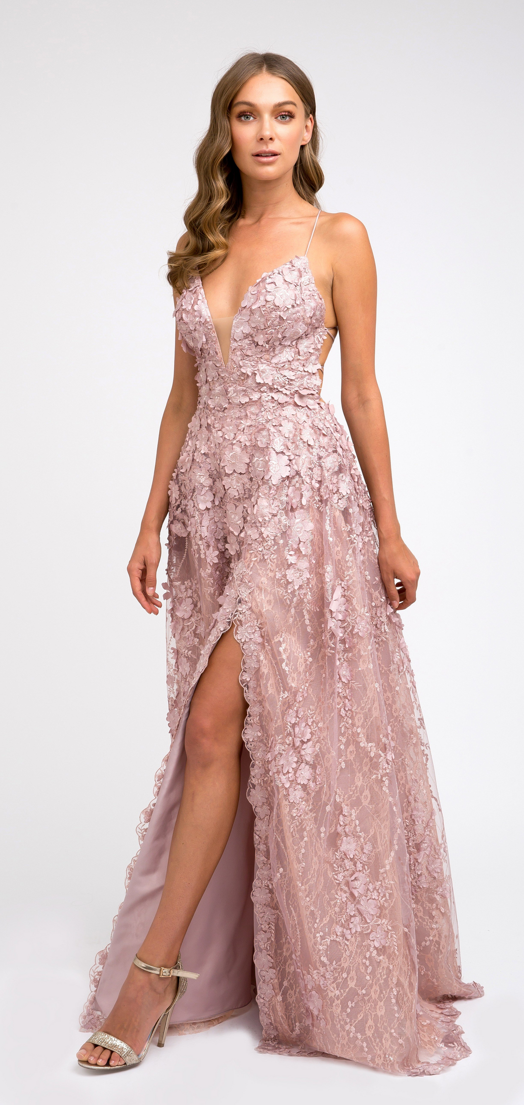 Brynn Prom Gown Lace Prom Dress with Criss-Cross Back  J216-Mauve