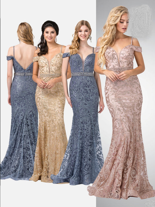 Cassandra Prom Gown Off Shoulder Mermaid Flared Dress D2772-SteelBlue