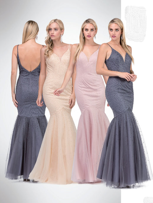 Demi Prom Gown Sparkle Covered Mermaid Prom Dress D-2437-DarkSilver
