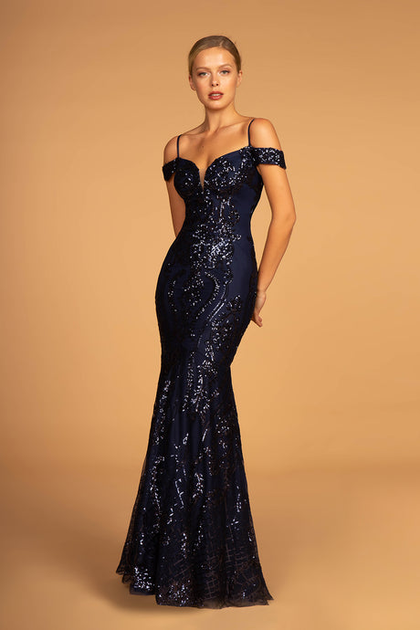 Emerson Prom Gown in Navy Off the Shoulder Mermaid Prom Dress G-2552