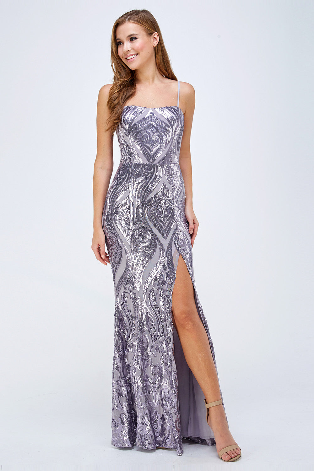 Everlee Prom Gown Straight with Front Slit Prom Dress M-26533-Lavender