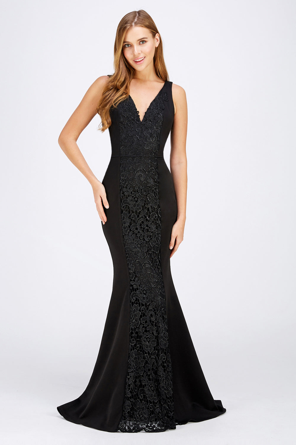Francine Prom Gown V Neck Mermaid Prom Dress M-26414-Black