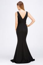 Load image into Gallery viewer, Francine Prom Gown V Neck Mermaid Prom Dress M-26414-Black