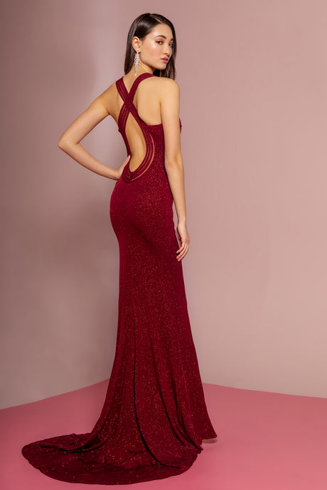 Frankie Prom Gown Keyhole Back with Sweep Train Prom Dress G-2704-Burgundy