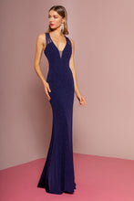 Load image into Gallery viewer, Frankie Prom Gown Keyhole Back with Sweep Train Prom Dress G-2704-Navy