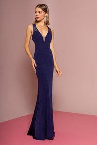 Frankie Prom Gown Keyhole Back with Sweep Train Prom Dress G-2704-Navy
