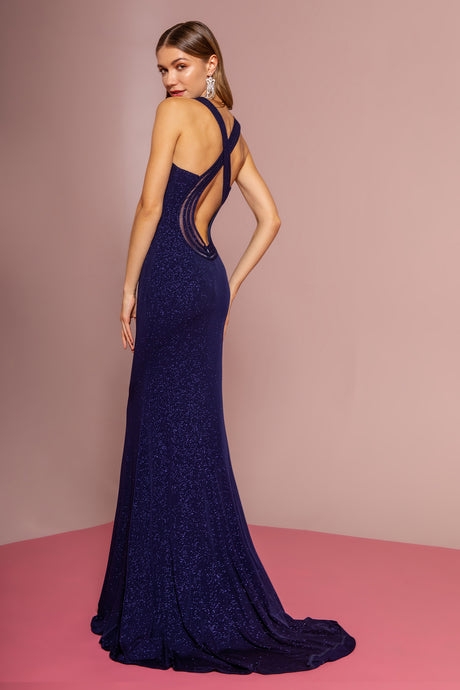 Frankie Prom Gown in Navy Keyhole Back with Sweep Train Prom Dress G-2704