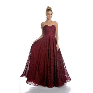 Harleigh Prom Gown Lace Strapless Corset Back Prom Dress H-217-Burgundy