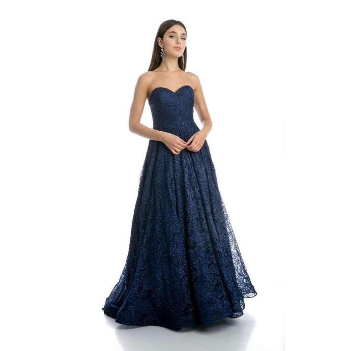 Harleigh Prom Gown in Navy Lace Strapless Corset Back Prom Dress J-217