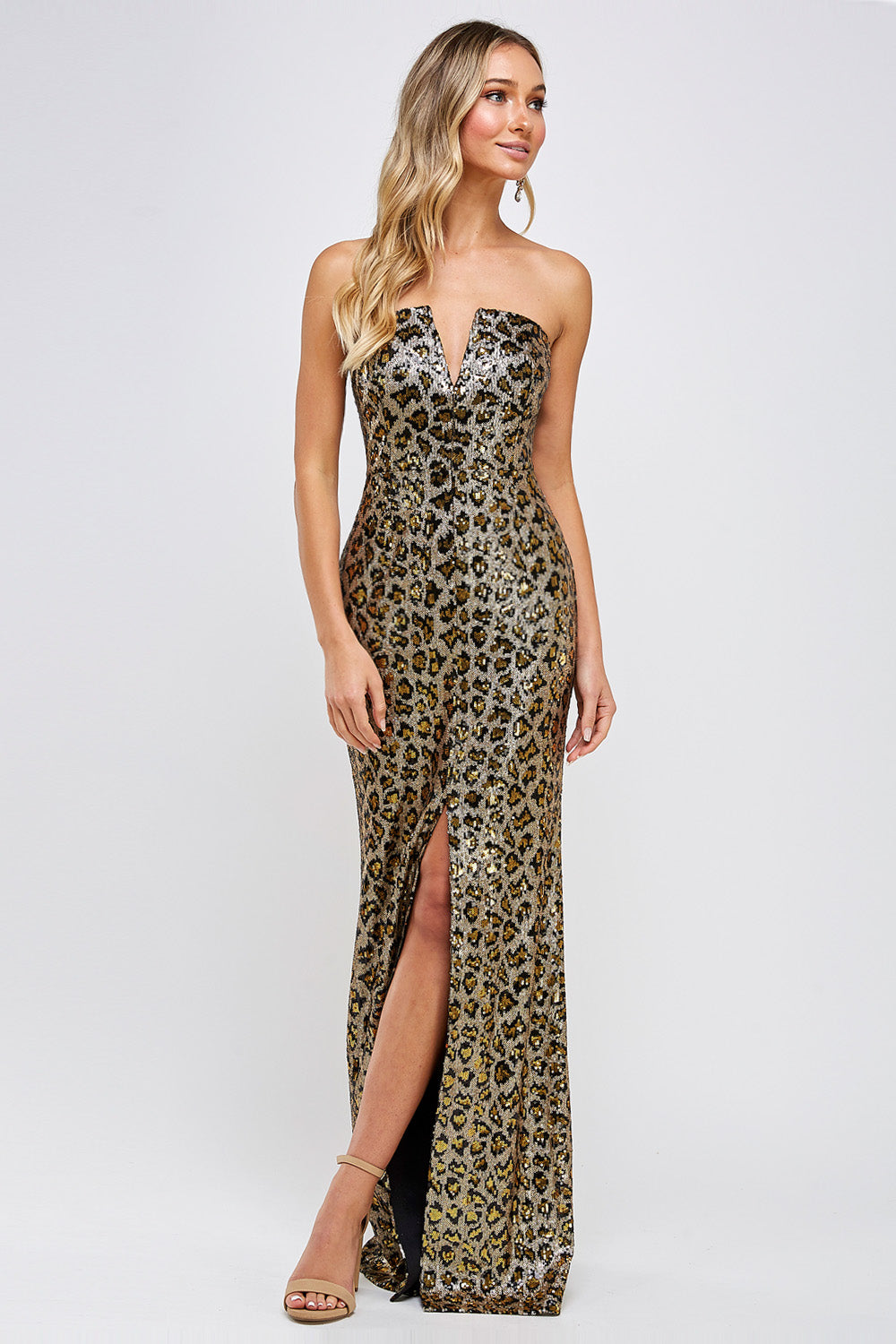 Kaia Leopard Print Prom Gown Strapless Front Slit Prom Dress M-202-Leopard