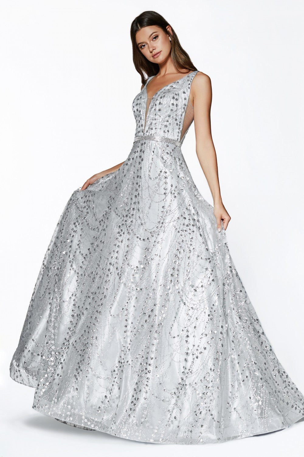 Mariposa Prom Gown Ballgown with Metallic Accents Prom Dress C-0028-Silver