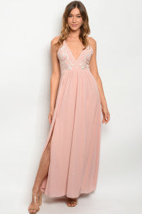 Maya Prom Gown Halter Neck Prom Dress with Embroidery W-2365-Blush