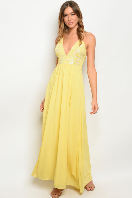 Maya Prom Gown in Yellow Halter Neck Prom Dress with Embroidery W-2365-Yellow