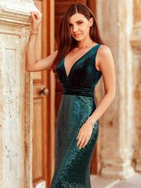 Mia Prom Gown V Neck Velvet and Sequin Mermaid Prom Dress  E-7767-Green