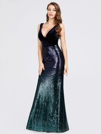 Mia Prom Gown V Neck Velvet and Sequin Mermaid Prom Dress  E-7767-Navy