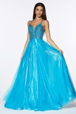 Nova Prom Gown in Turquoise Beaded Sleeveless Top with Full Tulle Skirt Prom Dress C-835