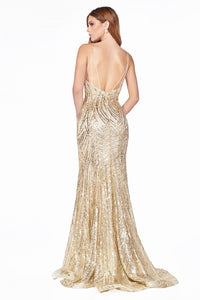 Rayna Prom Gown V Neck Front Slit Flared Hem Prom Dress C-844-Gold
