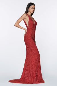 Savannah Prom Gown Embroidered Fitted Sleeveless Prom Dress G19067-Red