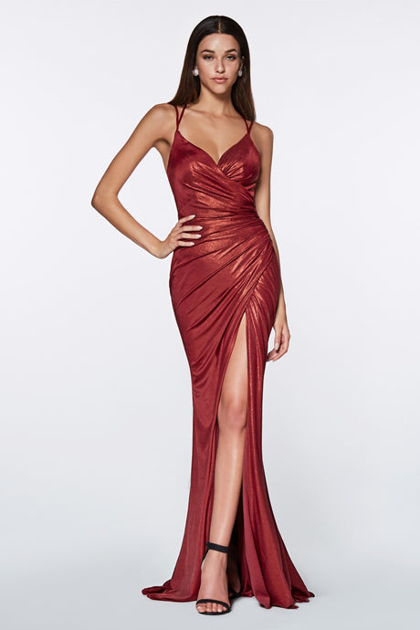 Zoey Prom Gown Metallic Fitted Prom Dress Burgundy