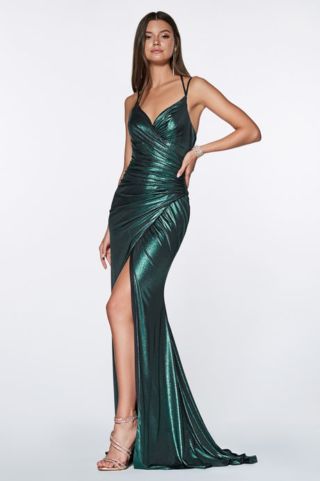 Zoey Prom Gown Metallic Fitted Prom Dress Teal