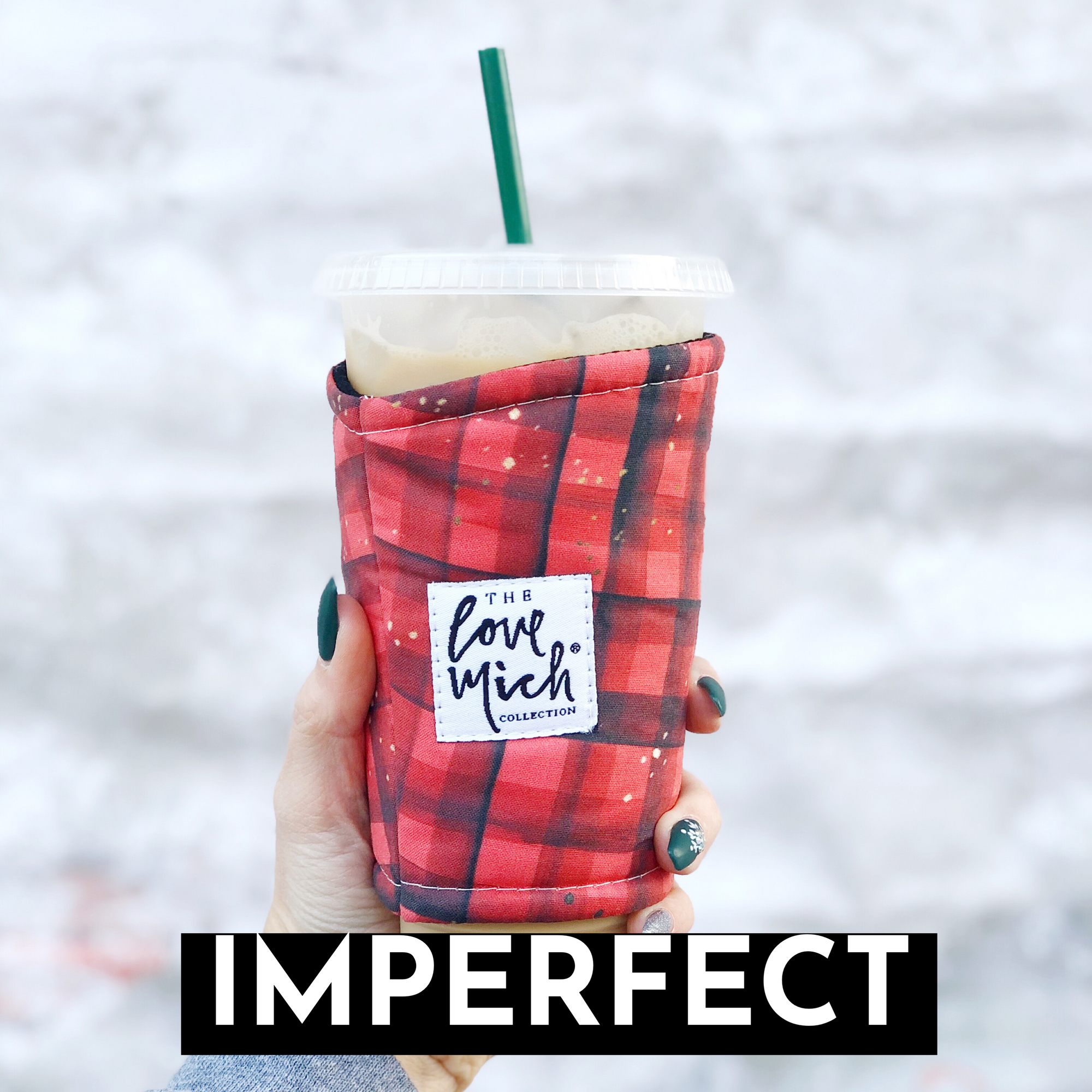 IMPERFECT - Distressed Buffalo Plaid - Coffee Cozy
