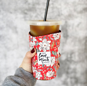 Merry & Bright Floral - Coffee Cozy
