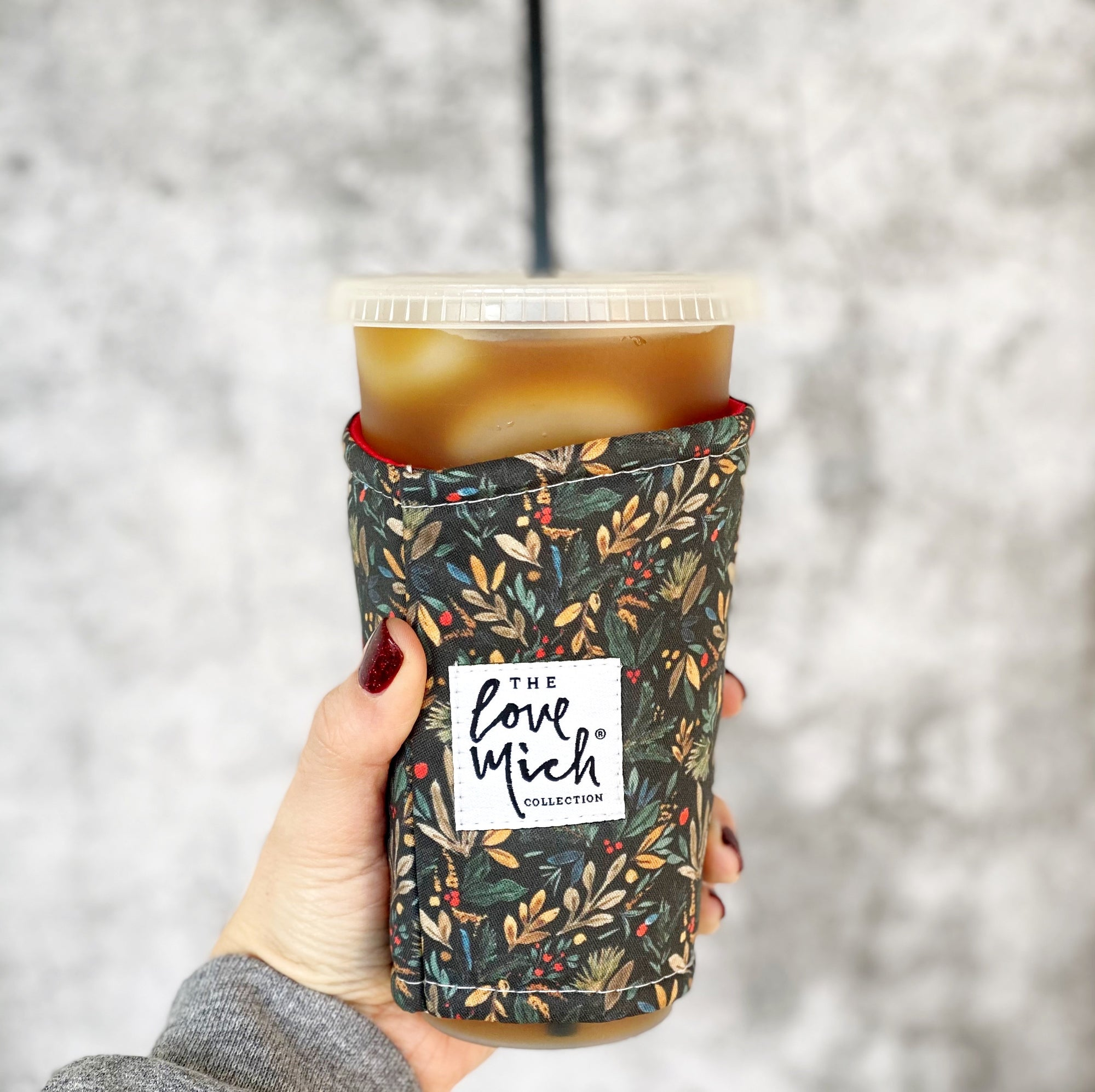 Black Holly Floral - MUSTARD lining - Coffee Cozy