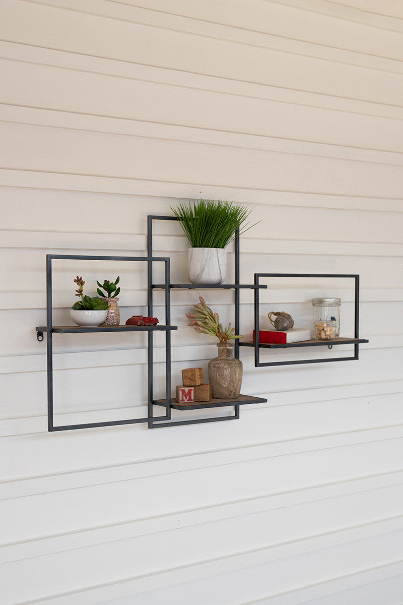 Recycled Wooden Shelf With Coat Hooks