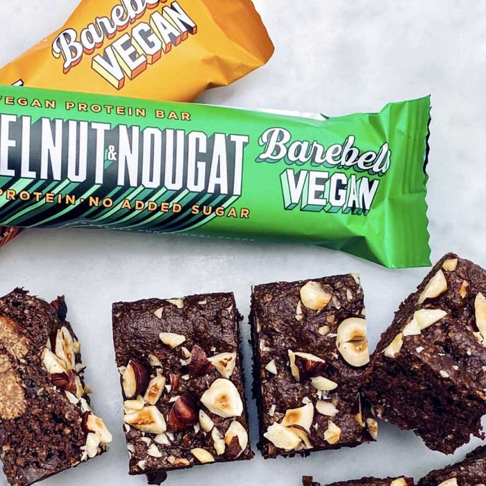 Recipes | Fred's Barebells Vegan Hazelnut Brownies by @fredandbutter