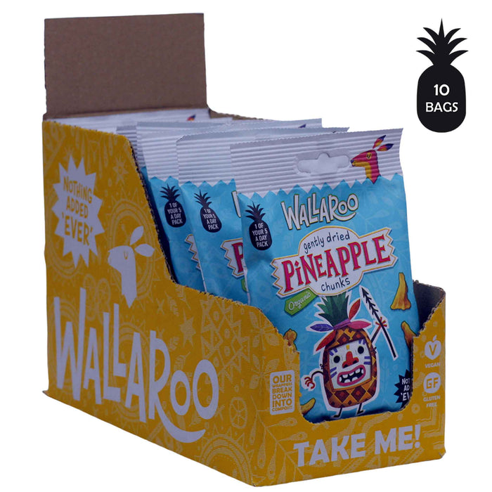 Wallaroo Organic Gently Dried Pineapple Chunks (10x30g)