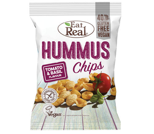 Eat Real - Hummus Chips Big Bags - Tomato  & Basil (10 x 135g)