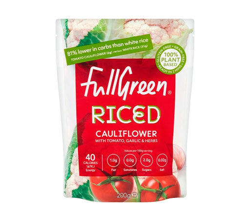 Fullgreen - Microwaveable Cauliflower Rice with Tomato & Garlic (6 x 200g)