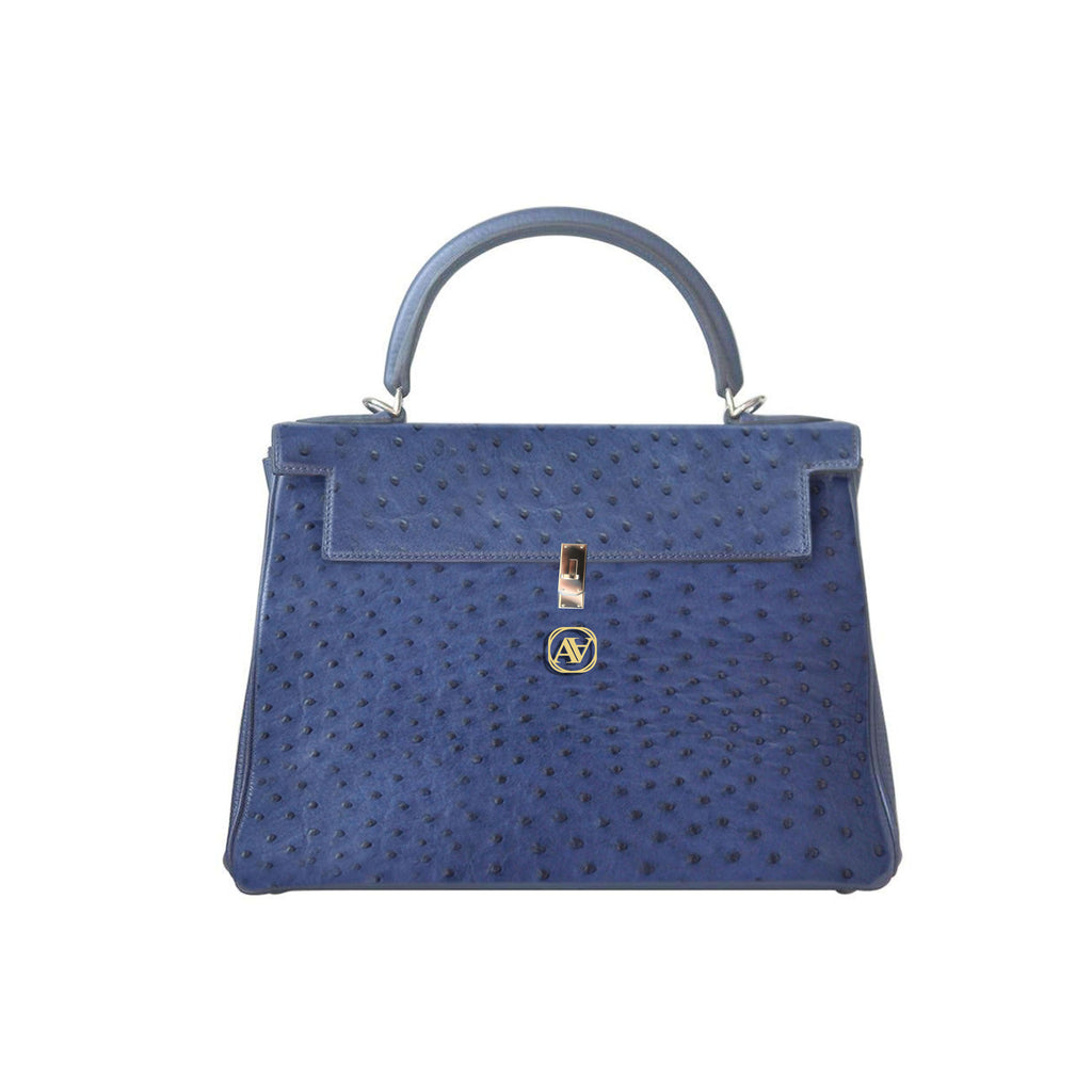 Anaya Boston Handmade Ostrich Leather Women's Blue Tote