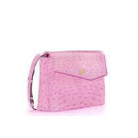 Anaya Boston Handmade Ostrich Leather Women's Pink Shoulder Bag