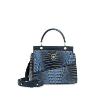 Anaya Boston Handmade Crocodile Leather Blue Shoulder Bag