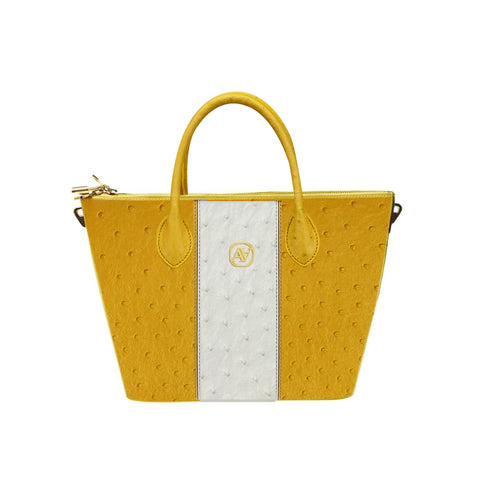 Anaya Boston Handmade Ostrich Leather Yellow Shoulder Bag