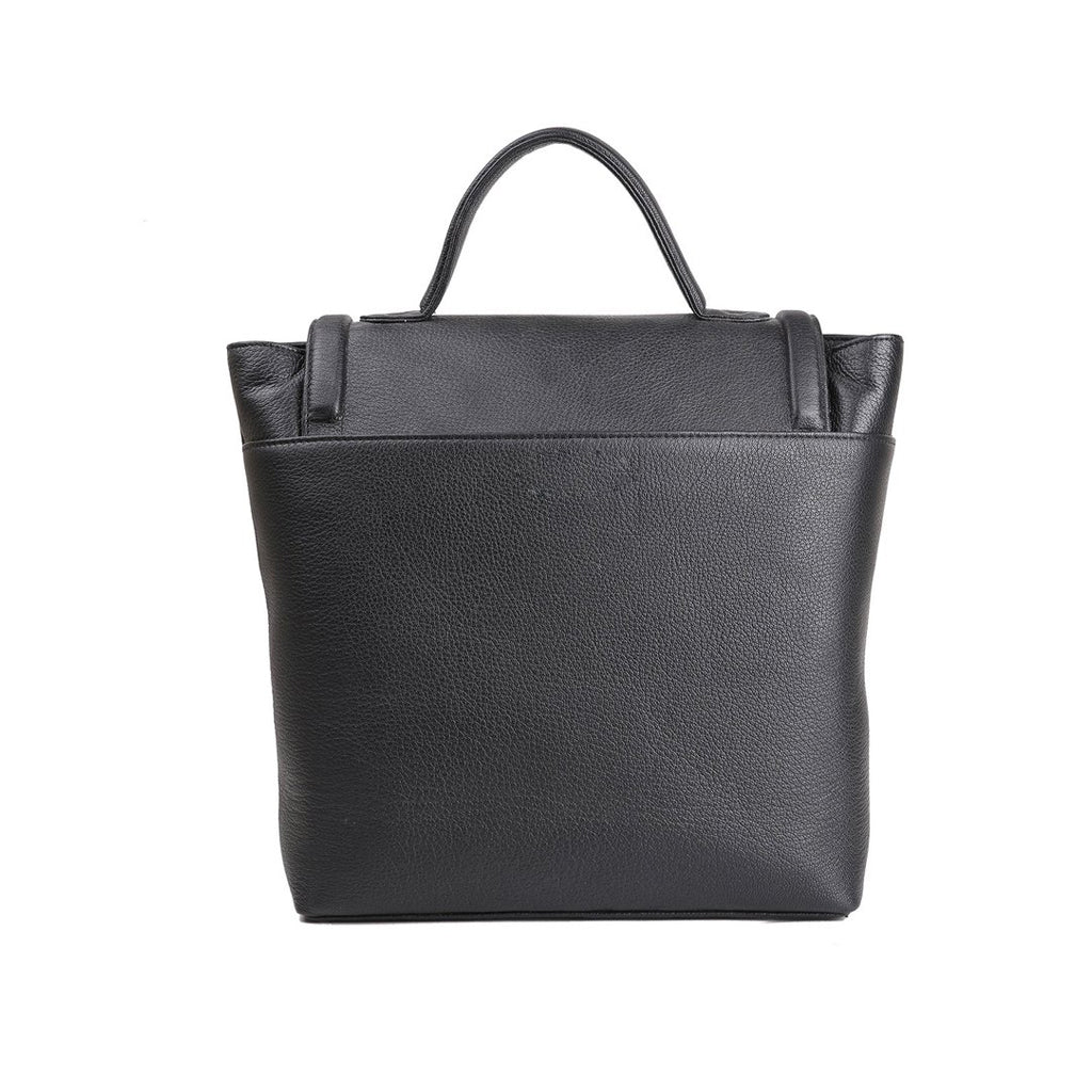 Anaya Boston Handmade Black Berline Leather Tote - anayabags