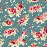 Cabbage Rose Flowercloud Teal by Tilda