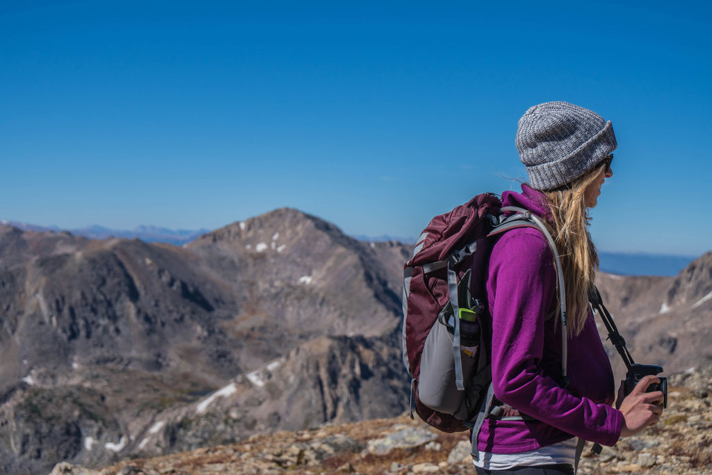 Woman Backpacking in the mountains