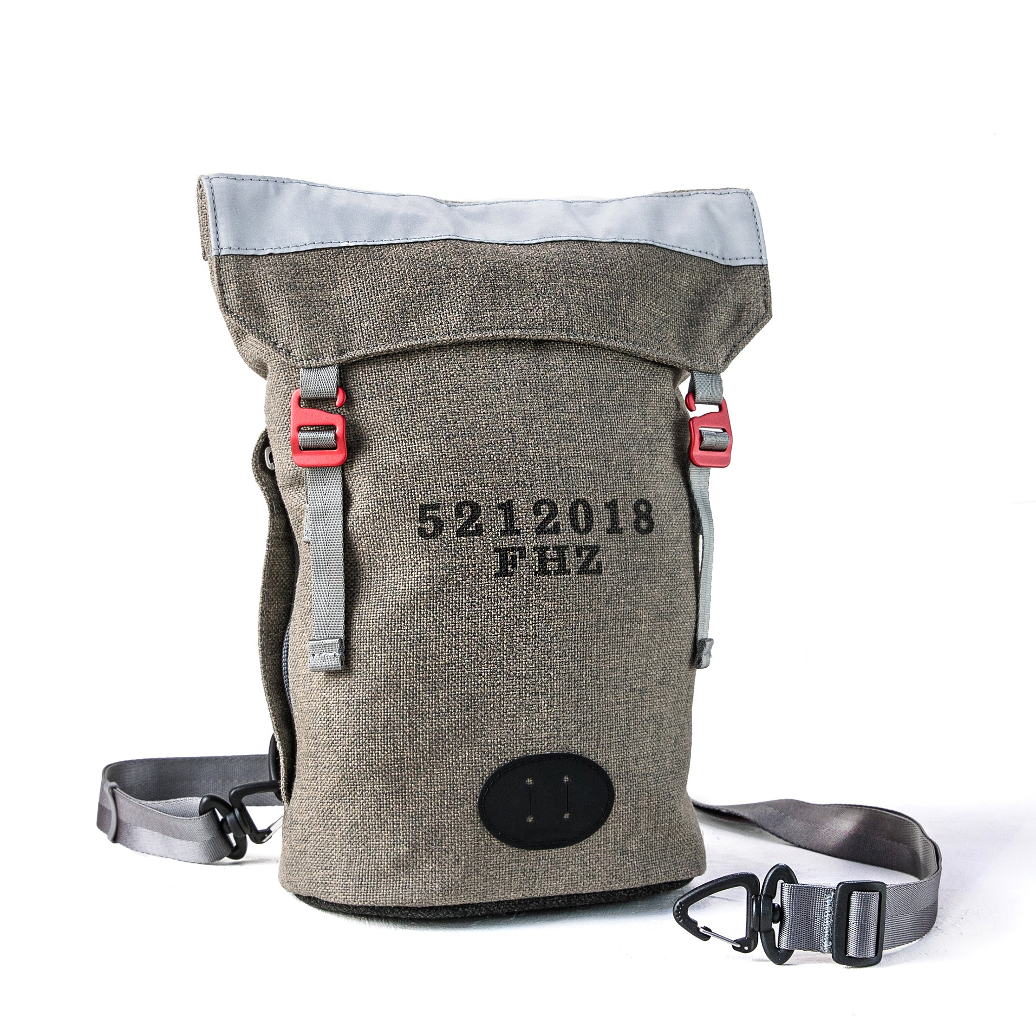 Front view of convertible Fierce Hazel backpack made with sustainable fabric. Functional, rugged and water-resistant it is military styled but beautiful