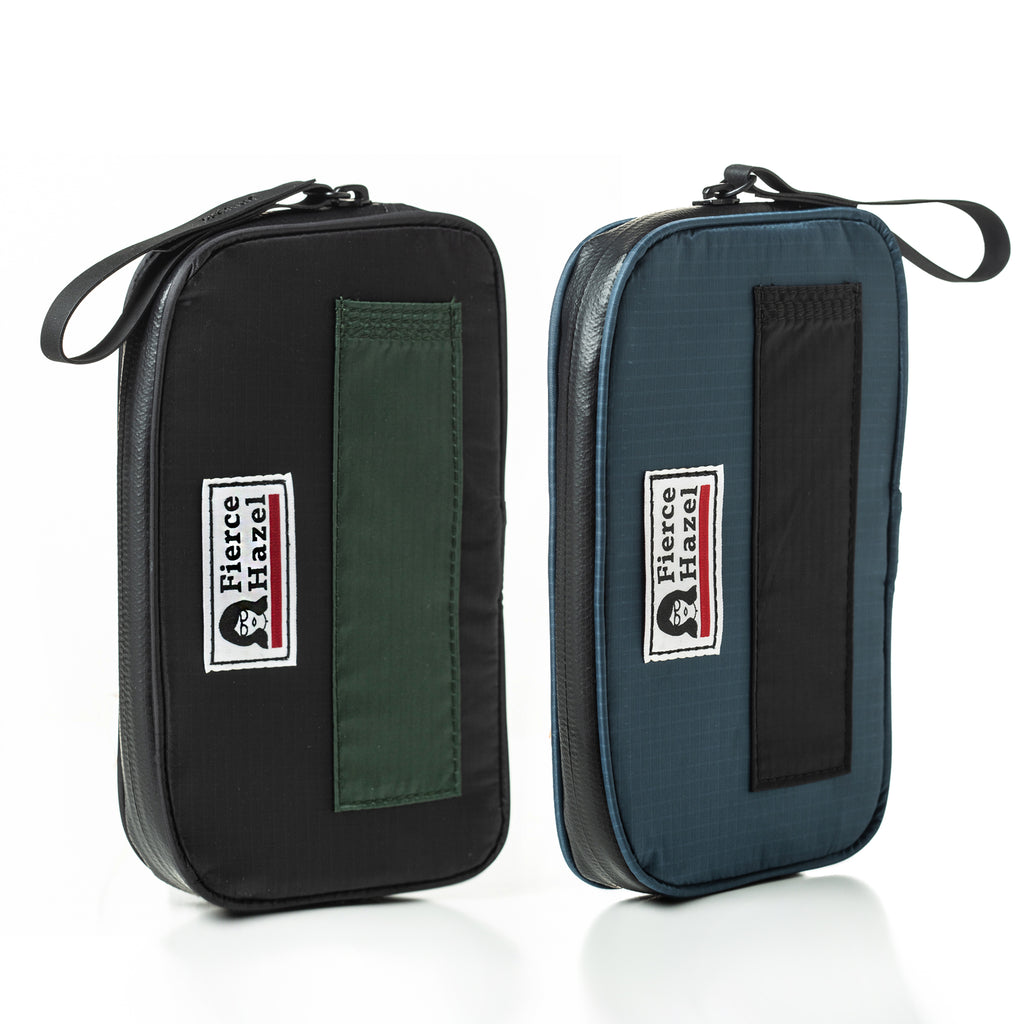 Two color ways of The front of the world's lightest cycling ride wallet. Ultra-lightweight, weather-proof, made from deadstock. Works as a phone case and travel wallet
