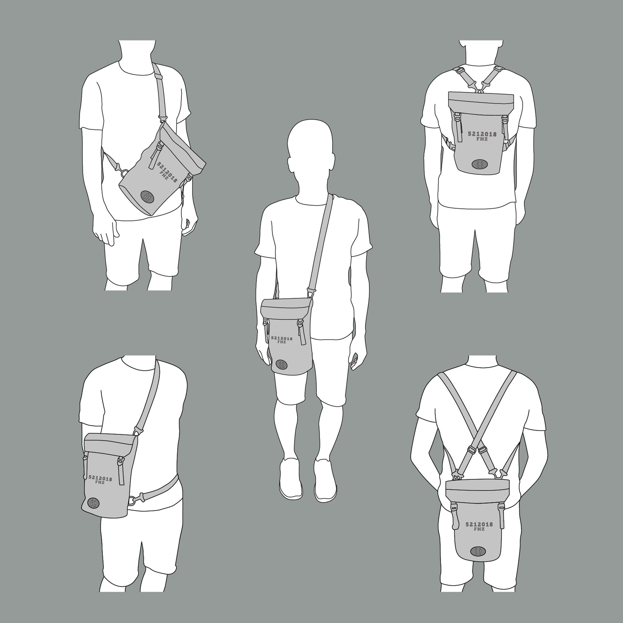 Illustration showing 5 different ways to wear the Fierce Hazel Evolution Convertible backpack