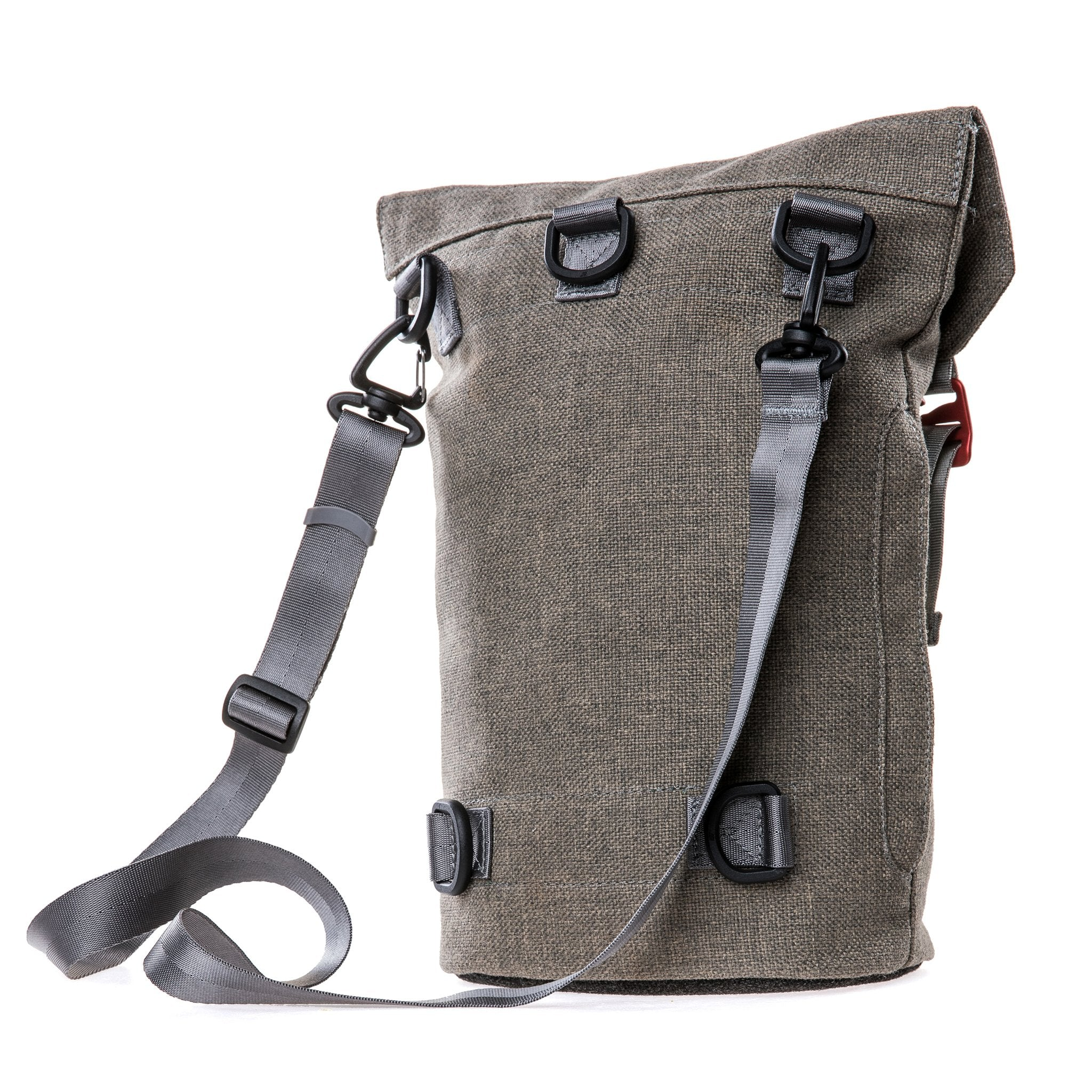 Side of a Fierce Hazel convertible backpack made with sustainable fabric.showing cross-body style.  Functional, rugged and water-resistant it is military styled but beautiful