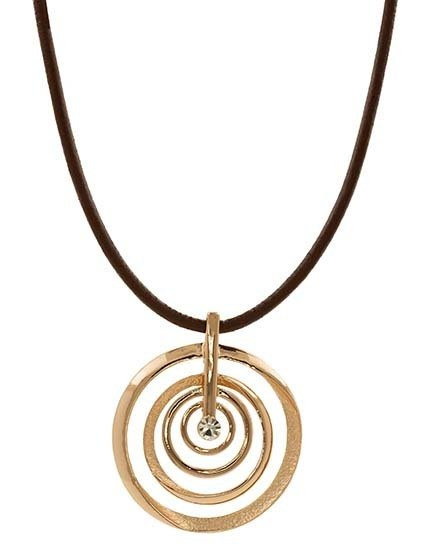 Brown Leather Necklace with Rose Gold Circle