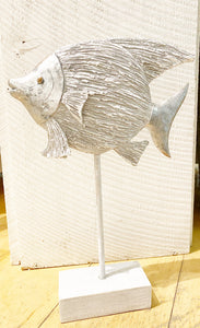 Round Silver Fish on Stand