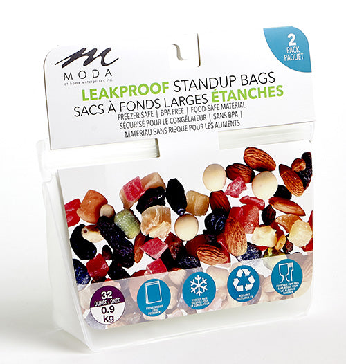 Leakproof, Reusable Stand Up Bags 32oz 2pk
