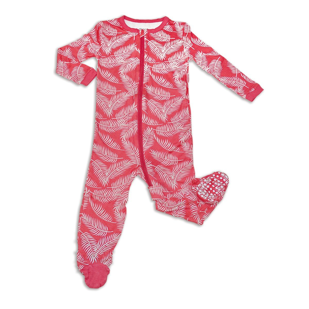 Silkberry Baby Footed Sleeper-Breezy Leaves Print