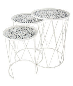 White with Navy Metal Nesting Tables **pick up only