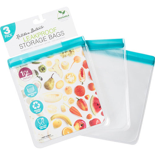 Leakproof Reusable Storage Bags 1 quart (3 pack)