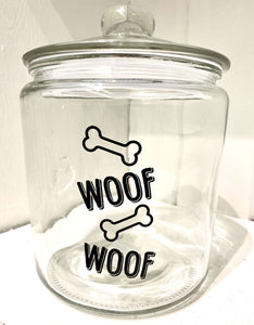 """Woof"" Glass Dog Treat Canister **Pick up Only**"